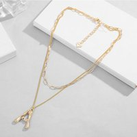 Shienland Vintage Choker Necklaces Gold Silver Color Letter A Pendant Double Layer Boho Women Necklace Collare N50 Chokers