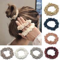 Kadın Zarif Inci Saç Bağları Boncuk Kızlar Scrunchies Kauçuk Bantlar At Kuyruğu Tutucular Elastik Hairband 14 Renkler