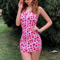 2021 Fashion Trend Women Cute Strawberry Pattern Pink Mini Sheath Dress Casual Sleeveless Party Summer Fitting Sundress Dresses