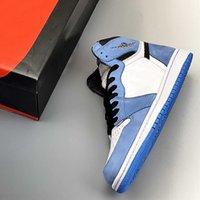 높은 OG 1 1S UNC 블랙 화이트 대학교 블루 농구 신발 여성 남성 패션 트레이너 Luxurys 디자이너 운동화 555088-134 상자와 함께 전체 크기 36-47.5