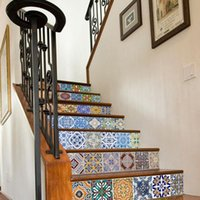 Wall Stickers 6 Pcs 3D Morocco Style Self-Adhesive Stairs Sticker Ceramic Tiles PVC Stair Wallpaper Decal Mural Stairway Decor