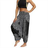 Aladdin Harem Tribal Hippie Mujeres Capri Summer Pantalones sueltos Bolso Boho Imprimir Mono Mono