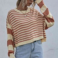 Women's Winter Clothes O-Neck Pullovers Autumn Striped Pullover Loose Knitted Sweater Short Outer Wear 210508