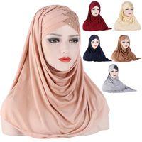 Ethnic Clothing Forehead Cross Hair Wrap Scarf Solid Color Glitter Sequins Jersey Hijabs Muslim Headband Women Turban Cap Headscarf 2021