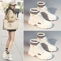 Nowe Kobiety Dziewczyna Martin Buty śniegu Koreańskie Brytyjskie Styl Kobieta Skórzane Sneakers Casual Damska Trend bagażnika 210804
