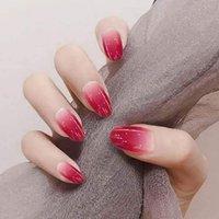 Овальный пресс на красном омбре ногти короткие ложные градиент ногтей Полное покрытие ногти для женщин и девочек 24шт набор