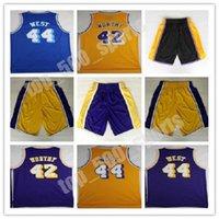Erkekler Basketbol Forması 42 Artest Worthy 44 Jerry Batı Chamberlain Rodman Nick Van Exel Sarı Mavi Şort Gömlek