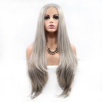 2021 new high-temperature silk headset European and American fashion fashion silver-white front lace half-hand hook wig leisure daily wigs