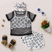 Summer Toddler Infant Kids Baby Girls Mesh Perspective Short Sleeve Tops Hearts Printed Vest+Shorts Headbands Outfits Set#p4 Clothing Sets