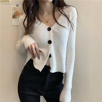 Naploe Chic Triko Örmek Kırpılmış Hırka Kadın Katı Renk Slim Fit Knitsweaters Kadınlar Çekin Femme Uzun Kollu Sueter Coat