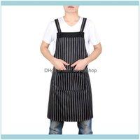 Aprons Textiles & Gardenpocket Useful Adjustable Adult Black Stripe Bib Apron With Two Pockets Chef Waiter Kitchen Cook Home Garden Apron#S