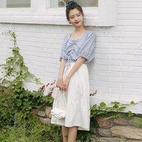 Skirts Women 2021 Summer Fashion Casual Pleated A-Line Skirt Female OL Midi Ladies High Waist Faldas Mujer V10