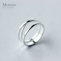 Modian Real 925 Sterling Silver Simple Cross Finger Ring For Women Fashion 3 Maten Ring Minimalist Style Fine Jewelry Bijoux 210506