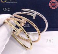 Yüksek Kaliteli Vida Tırnak Bileklik Takı Moda 925 Ayar Gümüş Kadın Yuvarlak Sert Bilezik Klasik Star Aynı Stil Toptan