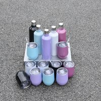 Sublimation Glitter wine glass sets 500ml 750ml COLA bottles Stainless Steel Vacuum Insulated bottle with 2pcs 12oz egg cups Lids Rainbow Tumbler in gifts boxes