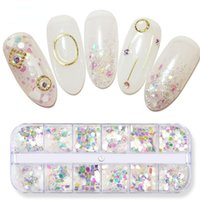 Nail Art Decorations Sequins Holographic Manicure Symphony Love Star Pink White Body Glitter Box Jewelry Transparent Mermaid Sequin