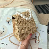 2020 New Style Pearl Straw Bags Tote Shoulder Ladies Female Woven For Women Messenger Bag Summer Chain Hand Small Dsfbx