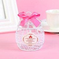 Wedding Favor and Gifts Candy Box European Creative Iron Romantic Bird Cage Candy Box Cute Ribbon Metal Gift Box Wedding Decor OOD6038