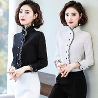 Spring Autumn Fungus Chiffon Long Women Shirts Sleeved Pleated Bottoming Tops Amp Blouses Plus Size 4xl