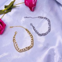 Charm Bracelets Fashion Link Chain Stainless Steel Bangle Bracelet For Women Exquisite Gold Color Jewelry Girl Beach Gift