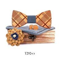 Manual de madera arqueamiento pañuelo pañuelo mancuerros broches conjunto hombre madera bowtie para las mujeres groomsman traje accesorios regalo cuello corbatas