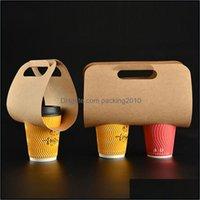 Olay Şenlikli Parti Malzemeleri Ev Garden50 / 100 adet Kraft Kağıt Bardak Tutucu Taşınabilir İçecek Plastik Ambalaj Tek Kullanımlık Kahve Takeaway Dr