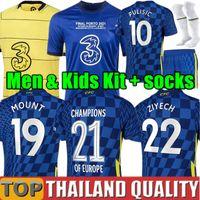 Tayland Chelsea 21 22 WERNER PULİSİK KANTE Futbol formaları MONTAJ CHILWELL ZIYECH 2021 2022 ev mavisi futbol forması seti Erkekler Çocuk kiti üniforma