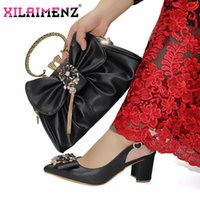 Dress Shoes Italian Design In Black Color High Quality With Shinning Crystal Nigerian Women And Bag To Match For Wedding Party
