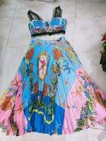 Camisole novo do estilo de férias barroco + cintura alta impressão de saia plissada impressa
