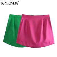 Kpytomoa donne chic moda morbido touch lucido mini gonna vintage vita alta vita con cerniera gonne femminili mugjer