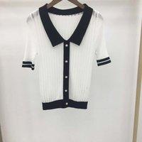 2021 Summer New Fashion Versatile Color Matching Vertical Stripe Hollow Ice Lapel T-shirt Short Sleeve Top for Women