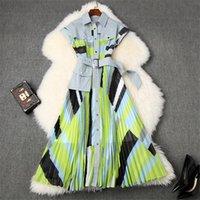 Vestito da donna di alta qualità Dress Summer Designer Designer Vestiti Abbigliamento Moda Giro Giù Camicia Collare Patchwork Stampa Midi Pleated Abiti Casual