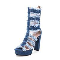 Zapatos de vestir Sexy Señoras Sandalias 12cm Mujer Gladiador Hole Denim Botas Tacones Altos Plataforma Peep Toe Zipper Zapatos de Mujer AT29