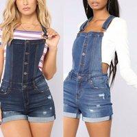 Pantaloncini da donna Pantaloncini Fashion Slim Hole Stitching Cinghie Bib 2021 Blu Body Jeans Pantaloni Pagliaccetti estivi Pagliaccetti Donne tuta Denim