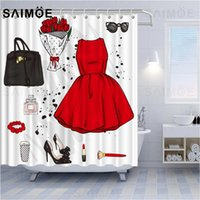 Red Dress Shower Curtain Waterproof Fabric Rose High Heels Girl Bathroom Decor Wedding Gift Curtains For Bath With Hooks