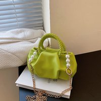 Evening Bags Designer Pleated Small Totes With Woven Handle 2021 PU Women's Handbag Pearl Chain Shoulder Messenger Bag