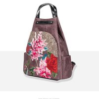Backpack Style Pink Sugao Retro PU Leather Women Bag 2021 Winter Handmade Embroider Floral Large Capacity Female Vintage