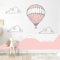 Large Pink Mountain Hot Air Balloon Removable Wall Decals Nursery Girls Art Stickers Wallpaper Posters Bedroom Gift Home Decor