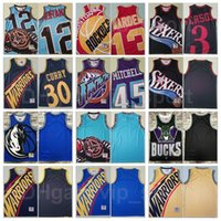 Basketball Mitchell Ness Stephen Curry Jersey 30 James Harden 13 Donovan 45 JA Morant 12 Allen Iverson 3 Vintage Big Team Logo