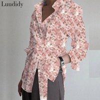 Çiçek Baskı Bandaj Bluz ve Gömlek Moda Kadın Bluzlar 2021 Uzun Kollu Vintage Bayan Kadın Gömlek Tops