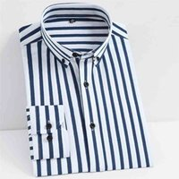 Men's Classic Non-iron Stretch Striped Basic Dress Shirt Single Patch Pocket Business Long Sleeve Standard-fit Easy Care Shirts 210730