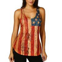 Mulheres Lace Sem Mangas Bandeira Americana Tanque Tops Casuais Blusa Camiseta Sem Mangas Verão Casual Tee Mulheres Tanques