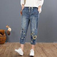Max lulu 2021 chinês verão estilo moda senhoras vintage bordado jeans mulheres casuais florais calças jeans rasgados harem calças