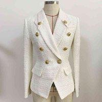 Women's Wool & Blends Designer coat for women, est designer blazer women with lion buttons, slim style, winter and autumn, R8F9