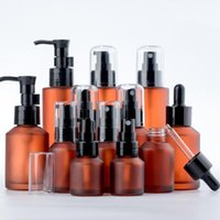 15ml 30ml 60ml 100ml Amber Brown Glass Bottle Protable Lotion Spray Pump Container Empty Refillable Travel Cosmetic Cream Shampoo Packing Bottles