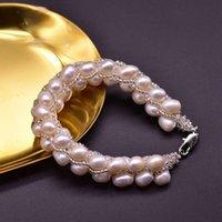 Braccialetti di fascino Braccialetto naturale Braccialetto di perle d'acqua dolce Femmina Retro Joker Multilayer Avvolgimento intrecciato