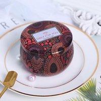 Tarco de vela perfumada Vacía de hojalata redonda de lata de tela de té con vela hecha a mano DIY Caja de almacenamiento de accesorios de tabletas de caramelo con tapa DHD6223