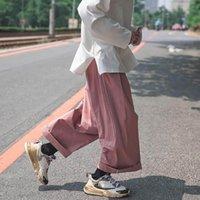 Primavera Outono Calças Casuais Homens Tendência Coreana Loose Hip Hop Hip-perna High Street Japonês Largura Legal Calças de Carga Cool 210525