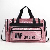 Duffel Bags Custom Fashion Large Capacity Waterproof Portable Glitter Overnight Tote PU Training Fitness Bag Women Gym