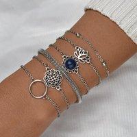 Мода Богемский этнический стиль полый лотос геометрический браслет набор натуральный камень с бисером цепь девушки украшения подарок